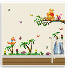 Winnie The Pooh Wall Stickers Animal Jungle Tree Nursery Baby Bedroom Decal Art