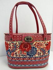 Isabella Fiore Red Leather Floral Beaded Sequin Box Bag Satchel Bag