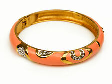 Joan Rivers Pink Enamel Gold Tone and Crystal Hinged Bangle Bracelet