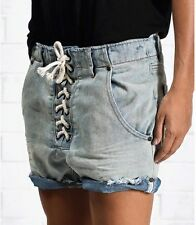 ONE BY ONE TEASPOON IVORY SUPERFREAKS *SAMPLE* BLUE DENIM SHORTS LACE UP FLY