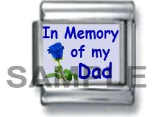 IN MEMORY OF MY DAD BLUE  ROSE 9MM ITALIAN PHOTO CHARM LINK love daughter father