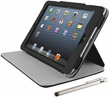 NEW TRUST 18877 BLACK IPAD MINI HARDCOVER SKIN & FOLIO STAND + FINE STYLUS PEN