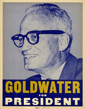 Scarce 1964 Barry GOLDWATER for PRESIDENT Placard Poster (5185)