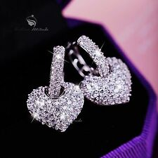 18k white gold gf SWAROVSKI crystal heart 3D stud dangle earrings 925 silver