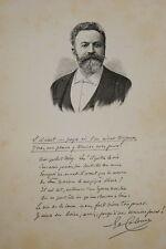 GRAVURE SUR BOIS EDOUARD COLONNE VIOLONISTE  ALBUM MARIANI 1894 AUTOGRAPHE