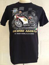 """Giacomo Agostini """"15 Volte World Champion"""" MV T-SHIRT del motociclo,Nero Inox"""
