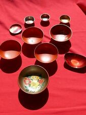 Pre WW2 Japanese Lot of TEN BOWLS & SAKE CUPS Hand Painted Artwork Made In Japan