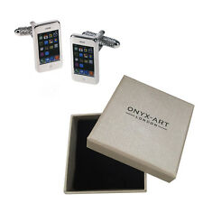 Mens Iphone Gadget Mobile Cufflinks & Gift Box By Onyx Art