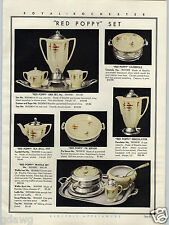 1931 PAPER AD Royal Rochester Golden pheasant Red Poppy Tea Coffee Service Waffl
