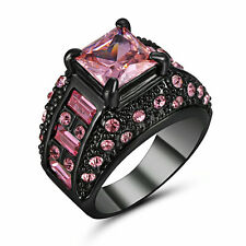 Size 7 Vintage Princess Cut Pink Topaz Wedding Ring Black Platinum Plated Gift