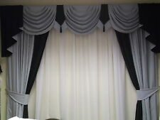 SWAGS/TAILS CURTAINS T/B  GREY/BLACK 90X60X90