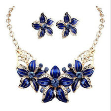 Women Gold Plated Jewelry Set Big Flower Design Statement Necklace+Earrings 1x