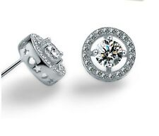 925 Sterling Silver Cubic Zirconia Stones 8mm Round Halo Stud Earrings Gift