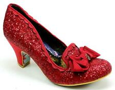 IRREGULAR CHOICE KANJANKA RED GLITTER BOW SLIP BLOCK HEEL COURT SHOES SIZE 6.5