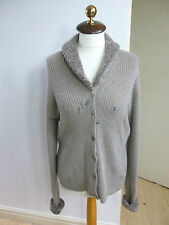 Studio 121 pure cashmere chunky knit beige ribbed cardigan  size L