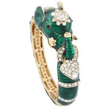 Elephant Animal Bangle Cuff Bracelet Rhinestone Crystal Green Enamel Gold GP