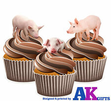 Farm Animals Pig Birthday Party 12 Cup Cake Toppers Edible Decorations