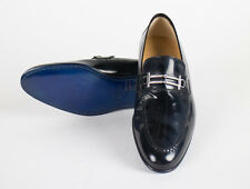 New SUTOR MANTELLASSI Navy Blue Patent Leather Loafers Shoes Size 7 US $695
