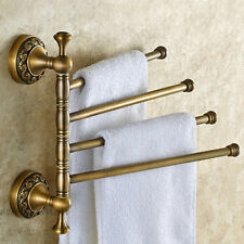 Antique Brass Wall Mounted Swivel Towel Rail Holder Bathroom 4 Bar Storage Rack