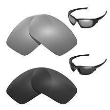 New Walleva Polarized Black + Titanium Replacement Lenses For Oakley Scalpel
