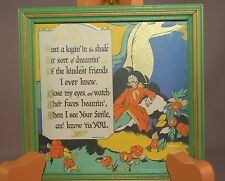 """""""Thinking of You"""" Art Deco Brightly Colored Small Motto Print in Original Frame!"""
