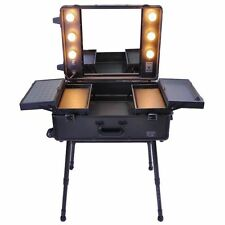 Pro Rolling Studio Makeup Train Case Cosmetic w/Light Leg Mirror Wheeled Bl