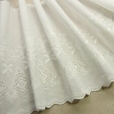 1Yd Vintage Style Embroidery Scalloped Cotton Fabric Eyelet Lace Trim 24cm Wide
