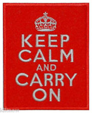 "KEEP CALM and CARRY ON EMBROIDERED PATCH 8CM X 10CM (3""X 4"")"