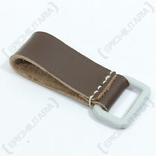 BROWN LEATHER BELT LOOP - SQUARE D-RING - Repro Military German WW2 Carry