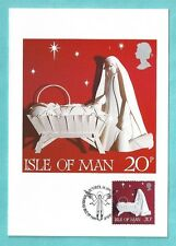 Isle of Man IOM 1991 Christmas Official Post Office Xmas Card 20p Stamp Noel