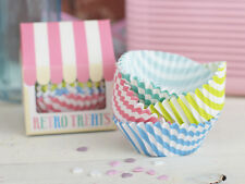 Pack of 100 RETRO TREATS Paper CUPCAKE CASES Vintage Style