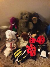 FOLKMANIS PLUSH HAND PUPPET DOG MONKEY LADYBUG BARNEY CHEF STUFFED  LOT