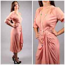 vintage 1930s swag coral pink draped rayon art deco great gatsby flapper dress