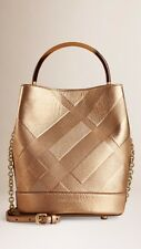 NWT Burberry Small Bucket Leather Gold Bag House Check Embossed $1995