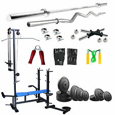 Fitfly Combo Home Gym Set 20 in1 Bench 40kg Weight  5FT Plain  3FT Curl Rod
