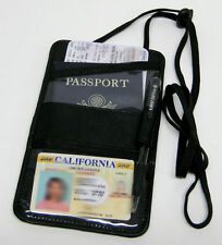BLACK LEATHER  PASSPORT Boarding pass Ticket ID CARD Thin Holder Neck Pouch Nice