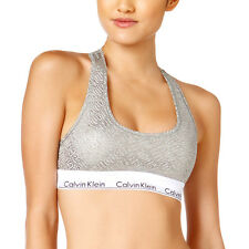 NEW Genuine CALVIN KLEIN Grey Metallic Logo Bralette Sports Bra Womens Small
