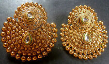 South Indian Antique Gold Plated CZ Kundan Polki Wedding Earrings Jhumka Set 4