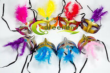 Lot 25 party mask costume venetian masquerade Mardi Gras Feather Wedding Quince