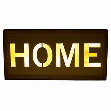 Wooden Rustic Light Up HOME Wall Mounted Sign Plaque Word Art Decor Object Item