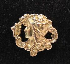 10K YELLOW GOLD ART NOUVEAU LADIES HEAD w FLOWER in HAIR  WATCH  PIN  BROOCH