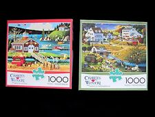 LOT of 2 CHARLES WYSOCKI Buffalo Jigsaw Puzzles 1000 pc 100% COMPLETE Airplanes