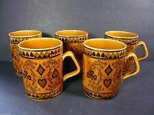 5 VINTAGE ARKLOW GIFTWARE COFFEE TEA MUGS PORTADOWN HAND ENGRAVED Ireland
