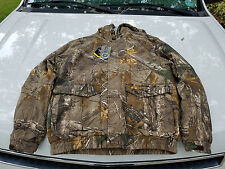Real Tree Heavy Insulated Hooded Thick Fleece Lined Hunting Camo Jacket sz 2XL