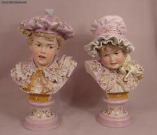 Exquisite Pair of Rare Antique Parian Porcelain Painted Children's Busts