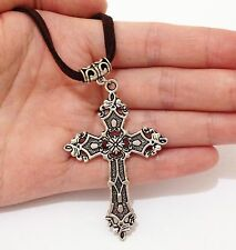 New Tibet Silver Big Carved Cross Pendant NECKLACE Long Leather Cord Party Gift