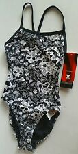 TYR Rockstar Thin X Back Skull Head Black & White 1 Pc Swimsuit NWT Sz 34