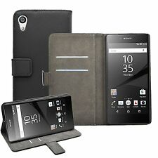 Wallet BLACK Leather Flip Case Cover Pouch For Sony Xperia Z5 Premium experia