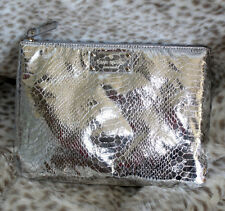 NWT KATE SPADE FOILED AGAIN GIA Pouch Makeup Bag  Clutch faux snake skin silver