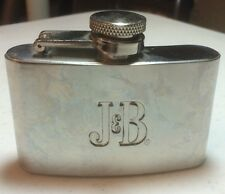 J & B Blended Scotch Whiskey Stainless Stell Flask with Hinged Top Unused